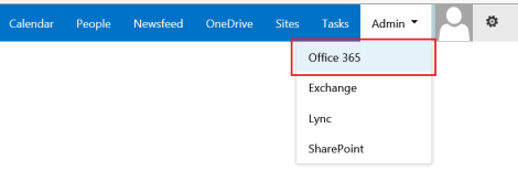 Log onto Office 365 admin center